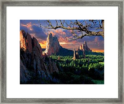 Morning Light At The Garden Of The Gods Framed Print