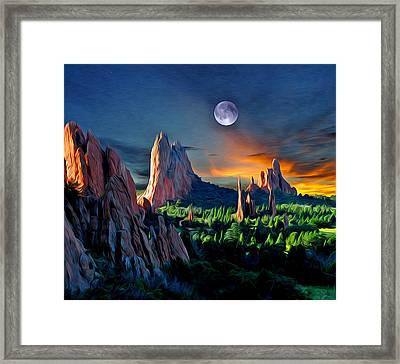 Morning Light At The Garden With Moon Framed Print by John Hoffman