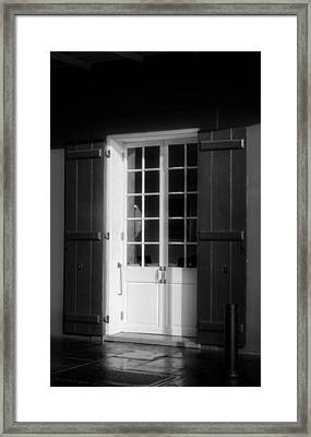 Morning Light On A French Quarter Door In Black And White Framed Print by Chrystal Mimbs