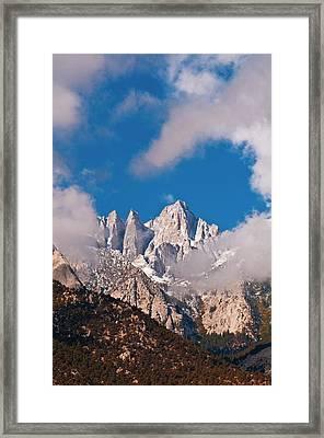Morning Light On The East Face Of Mount Framed Print
