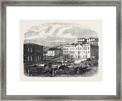 Morning Market At Port Elizabeth 1866 Framed Print