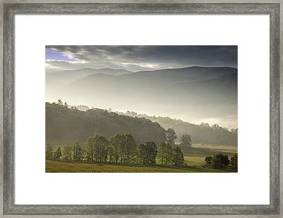 Morning Mist In The Smokies Framed Print by Andrew Soundarajan