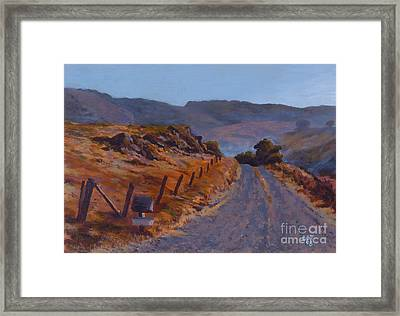 Morning Mist Off A Country Road Framed Print by Betsee  Talavera