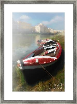 Morning Mist On The Arno River Italy Framed Print by Mike Nellums