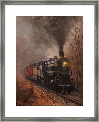 Morning Mist Soo Line 1003 Framed Print by Tom Shropshire