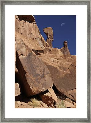 Morning Moon At Arches  Framed Print by Mike McGlothlen