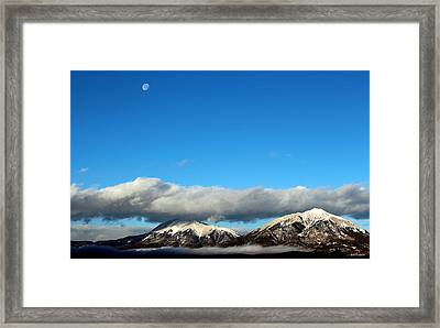 Framed Print featuring the photograph Morning Moon Over Spanish Peaks by Barbara Chichester