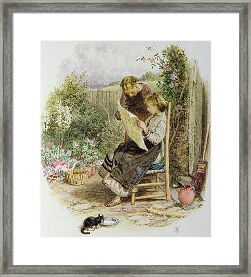 Morning News Framed Print by Myles Birket Foster
