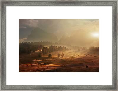 Morning On Alpine Meadow Framed Print