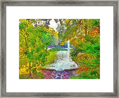 Mirror Lake. The Ohio State University Framed Print