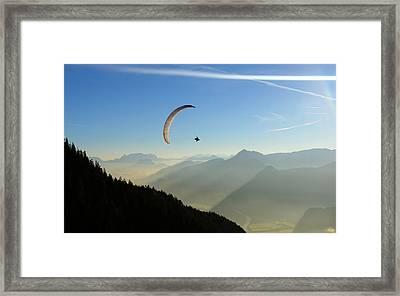 Morning Paragliding Flight Framed Print by Mario Eder