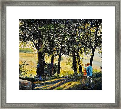 Morning Plein-air In Southern France Framed Print by Robert W Cook