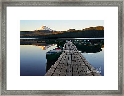 Morning Reflections With Mount Ranier Framed Print by Jane Axman