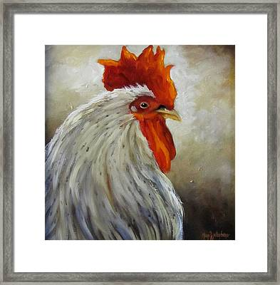 Morning Rooster Framed Print by Cheri Wollenberg