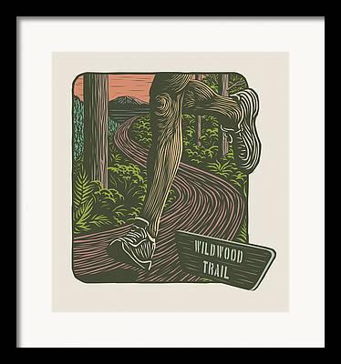 Linocut Framed Prints