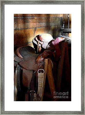 Morning Saddles Framed Print by Newel Hunter