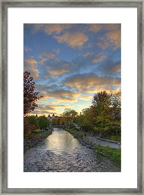 Morning Sky On The Fox River Framed Print by Daniel Sheldon