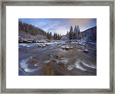 Morning Snowlight Framed Print by Darren  White