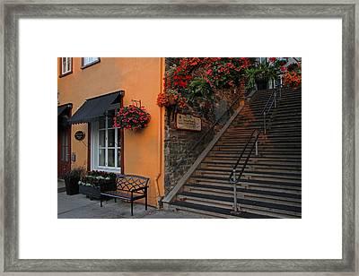 Morning Stroll On Rue Du Petit Champlain Framed Print by Juergen Roth