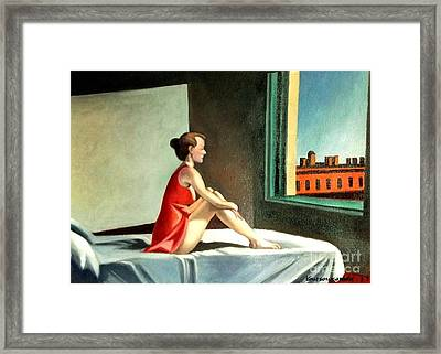 Morning Sun After E.hopper Framed Print by Kostas Koutsoukanidis