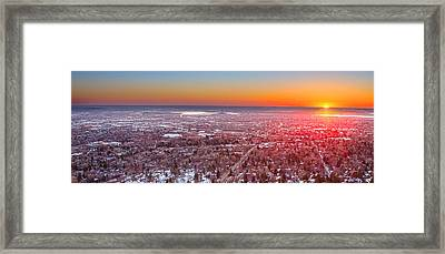 Morning Sunrise Over Boulder Colorado University Panorama Framed Print