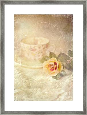 Morning Time Wild Rose And Teacup Framed Print by Susan Gary