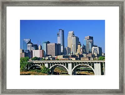 Morning View Of Minneapolis, Mn Skyline Framed Print