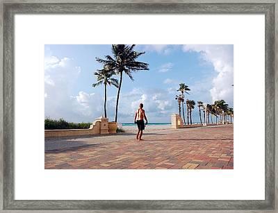 Morning Walk Along The Hollywood Beach Boardwalk Framed Print by Shawn Lyte