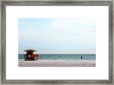 Morning Walk Beach Art By Sharon Cummings Framed Print by William Patrick