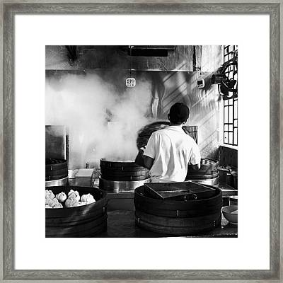 Morning Walk. Steaming Bao In A George Framed Print