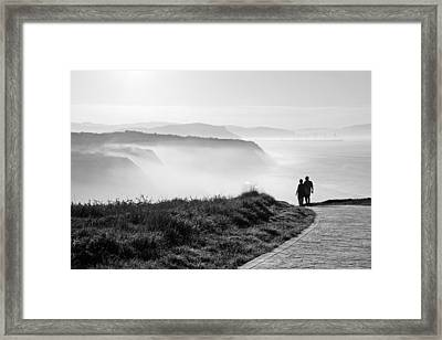 Morning Walk With Sea Mist Framed Print by Mikel Martinez de Osaba