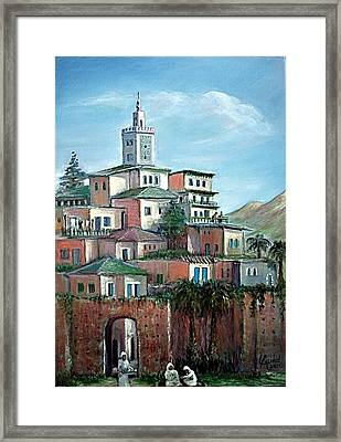 Framed Print featuring the painting Moroccan Village - Alkasaba by Laila Awad Jamaleldin