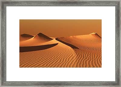 Moroccan Desert Landscape With Orange Sky. Dunes Background Framed Print by Bijan Studio