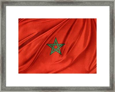 Moroccan Flag Framed Print by Les Cunliffe