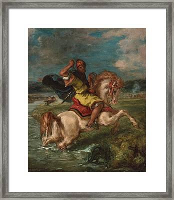 Moroccan Horseman Crossing A Ford Framed Print