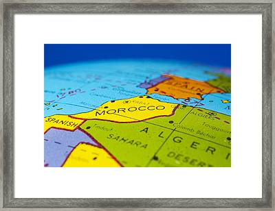 Morocco - Antique  Globe Map Travel Background Framed Print by Donald  Erickson
