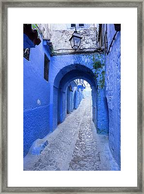 Morocco A Blue Alley In The Hill Town Framed Print