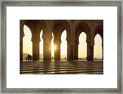 Morocco, Archways Of Hassan II Mosque Framed Print by Ian Cumming