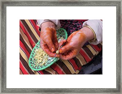 Morocco, Bhalil Woman With Hennaed Framed Print by Emily Wilson