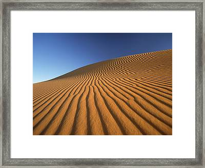 Morocco, Detail Of Sand Dune At Dawn Framed Print by Ian Cumming