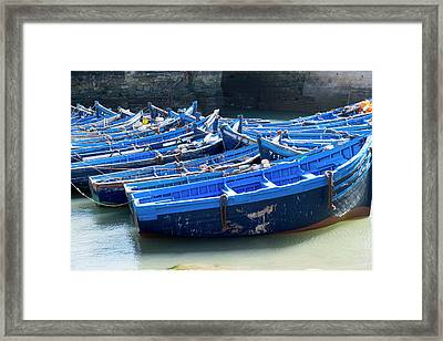 Morocco, Essaouira, Boats In Harbor Framed Print by Emily Wilson