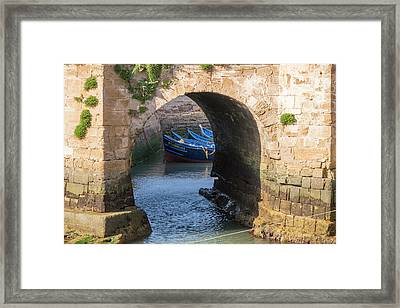 Morocco, Essaouira, Small Boats Tied Framed Print by Emily Wilson