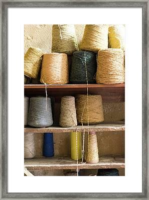 Morocco, Fes Medina, Spools Of Weaving Framed Print by Emily Wilson