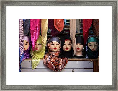 Morocco, Fes Moroccan Head Scarves Framed Print by Kymri Wilt