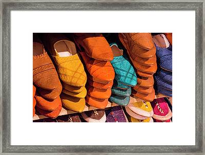 Morocco Fez Colorful Arab Shoes Framed Print by Bill Bachmann