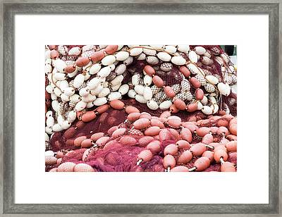 Morocco, Rabat, Sale, Red And White Framed Print by Emily Wilson