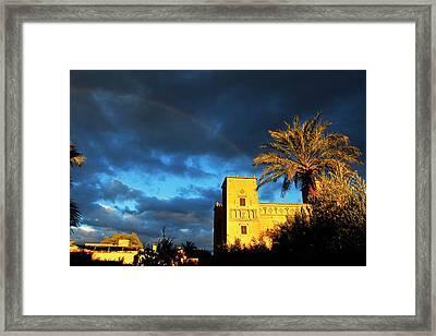 Morocco, Skoura Rainbow Over Dar Ahlam Framed Print by Kymri Wilt