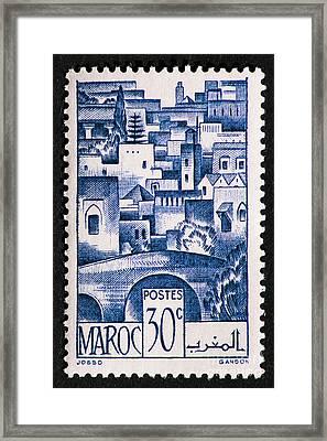 Morocco Vintage Postage Stamp Framed Print