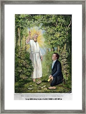 Moroni And Joseph Smith Framed Print by Granger