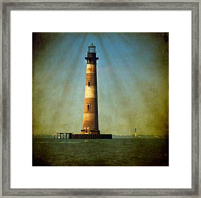 Morris Island Light Color Vintage Framed Print